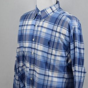 Ralph Lauren Mens Classic Fit Blue Plaid XXL LSS